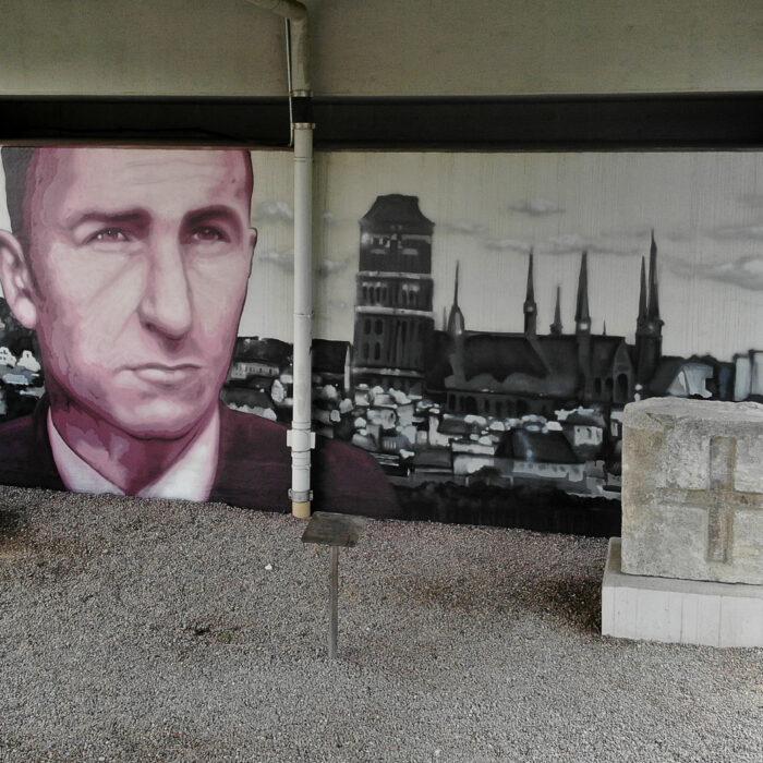 Mural pamięci gdańskiego pisarza Brunona Zwarry Gdańsk 2020