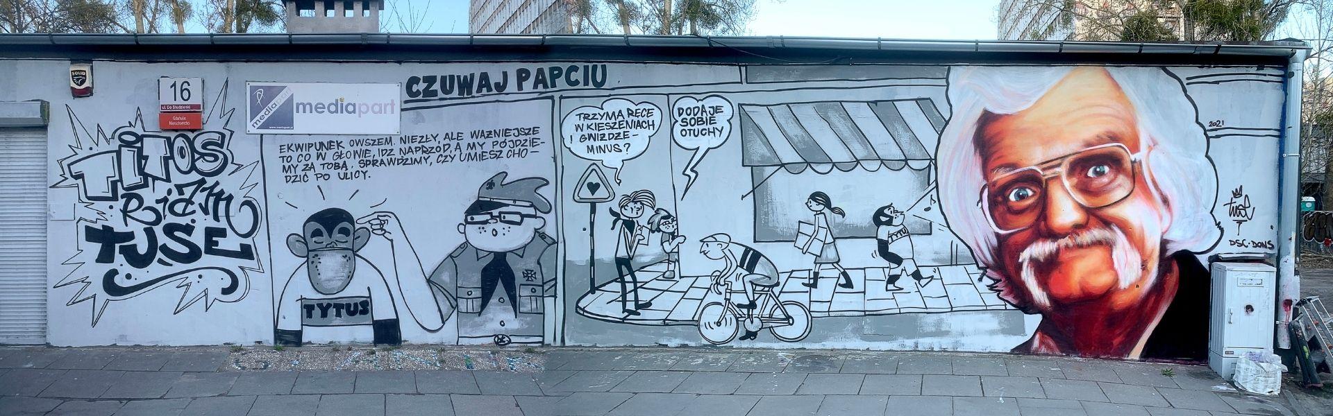 Mural w hołdzie dla Papcie Chmiela Gdańsk 2020